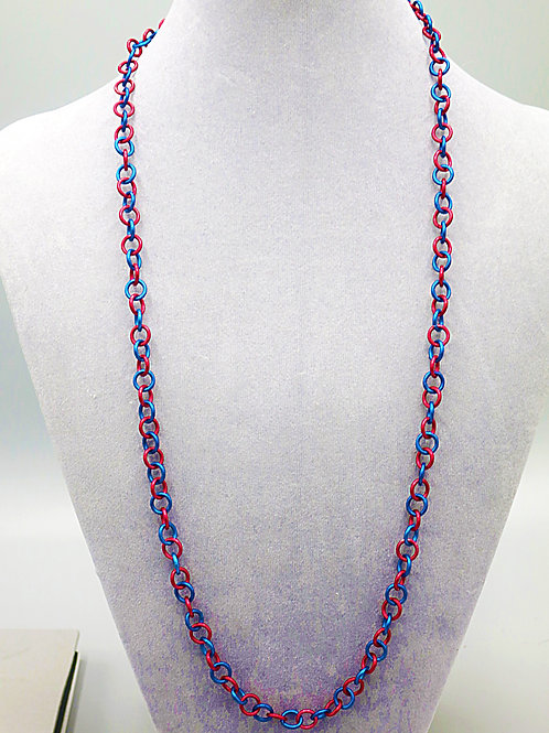 "26.6"" Red & blue single link anodized aluminum chainmail necklace"