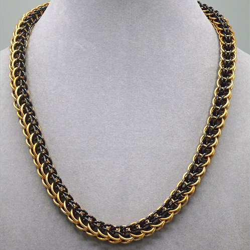 Black & gold Full Persian weave aluminum chainmail necklace