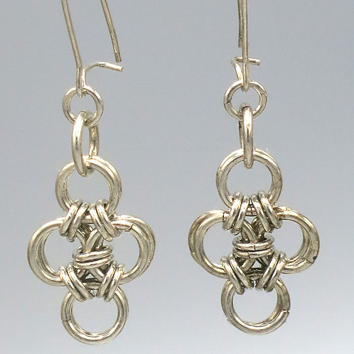 Sterling .925 silver chainmail earrings -- Euro 4-in-1 triangles with rings