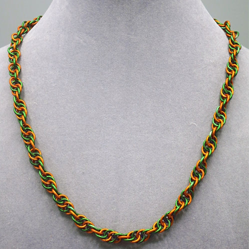 17.7 Green & Orange Spiral weave anodized aluminum chainmail necklace