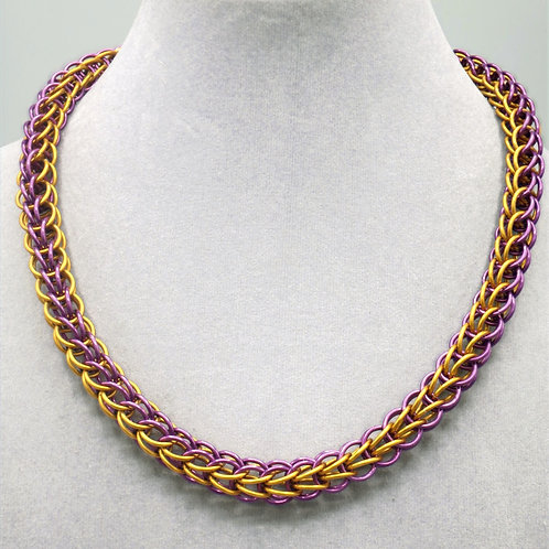 Purple & gold Full Persian weave aluminum chainmail neckl