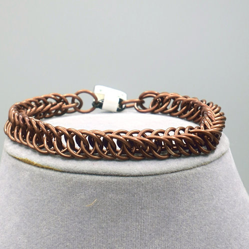 "8"" Brown HP 4-1 weave anodized aluminum chainmail bracelet"