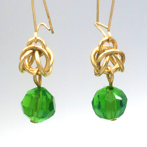 Byzantine chainmail earrings in 14k gold-filled with green Preciosa crystals