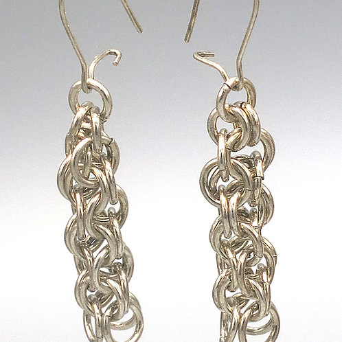 Argentium silver chainmail earrings in Inverted Round weave