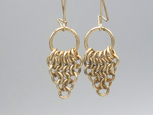 14k gold-filled chainmail earrings -- Euro 4-in-1 triangles with rings