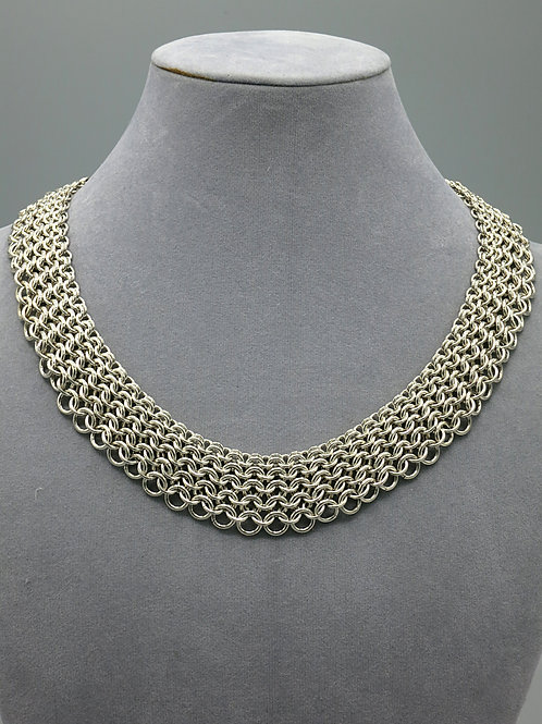 "Argentium silver 16"" graduated Euro 4-in-1 chainmail  short necklace"
