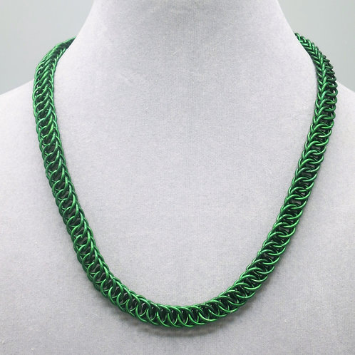 "17.5"" Green HP 4-1 weave anodized aluminum chainmail necklace"