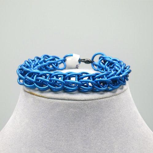 "7.9"" Blue Full Persian weave anodized aluminum chainmail bracelet"