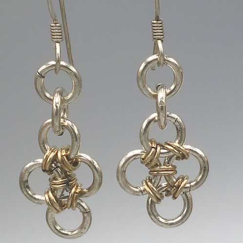 Sterling .925 silver & 14k gold-filled Hana-Gusari chainmail earrings - diamonds
