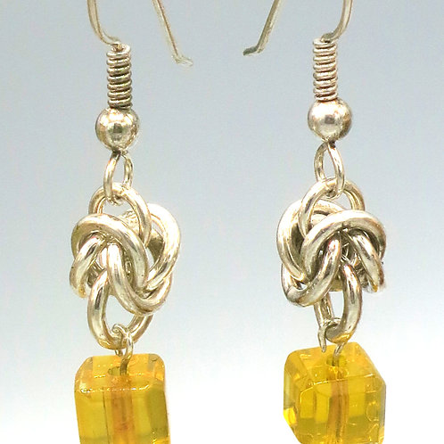 Sterling .925 silver byzantine chainmail drop earrings with amber Czech cubes
