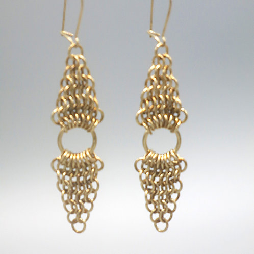 14k gold-filled chainmail earrings -- Euro 4-in-1 double triangles with rings