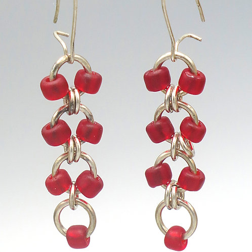 Sterling .925 silver chainmail earrings with red Czech glass bead drops