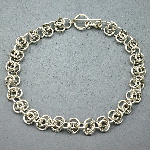 ".925 Sterling Silver 8.25"" chainmail bracelet in Rhinos Snorting Drano weave"