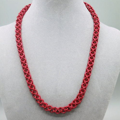 "20.5"" Red Inverted Round weave anodized aluminum chainmail necklace"