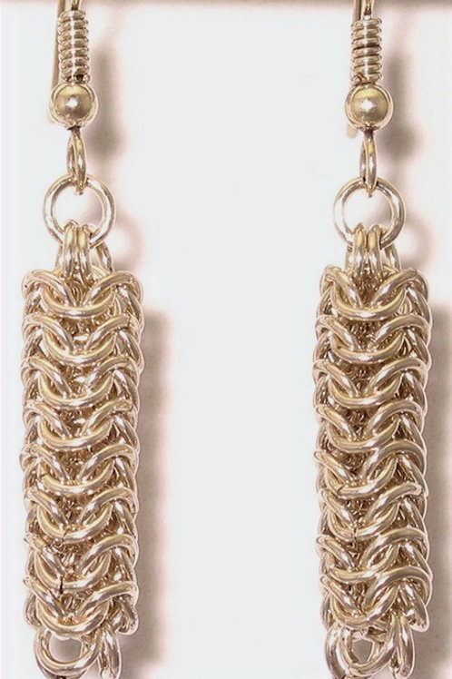 Argentium silver Roundmaille chainmail earrings