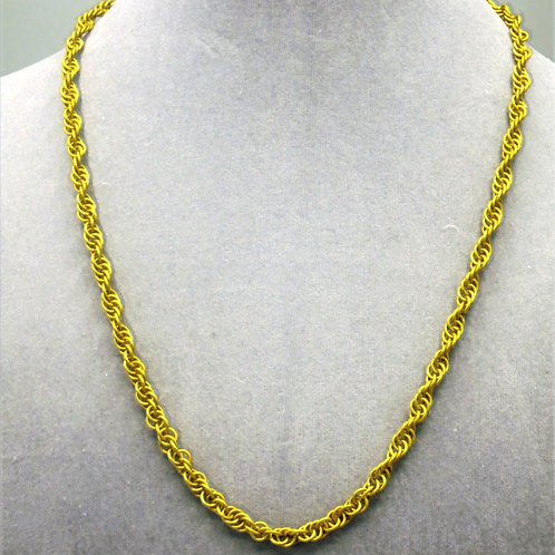 "19.2"" Yellow Spiral weave anodized aluminum chainmail ne"