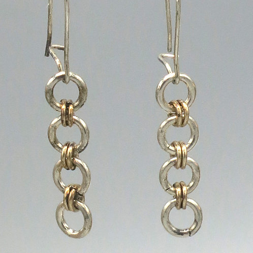 Argentium silver and 14k gold filled chainmail link earrings