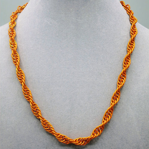 "19"" Orange Spiral weave anodized aluminum chainmail necklace"