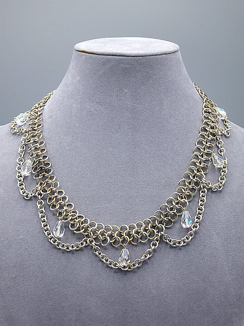 .925 sterling silver Euro 4in1 chainmail necklace w/chain drapes & glass drops