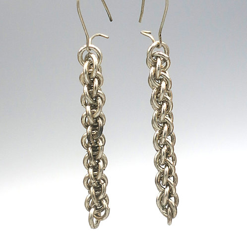 Argentium silver chainmail earrings in Jens Pind weave