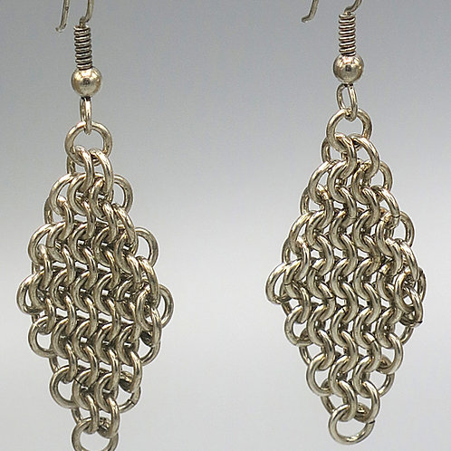 Euro 4-in-1 .925 sterling silver chainmail earring diamonds