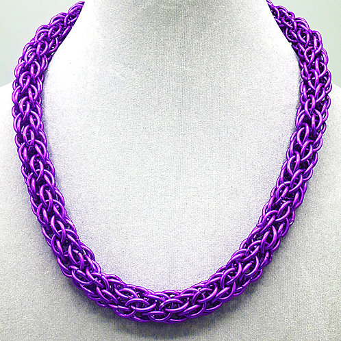 "18.3"" Purple Candy Cane weave anodized aluminum chainmail necklace"