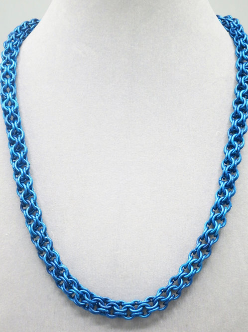 """20.5"""" Blue Inverted Round weave anodized aluminum chainmail necklace"""