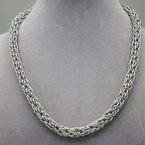 "18.5"" Candy Cane weave aluminum chainmail necklace"