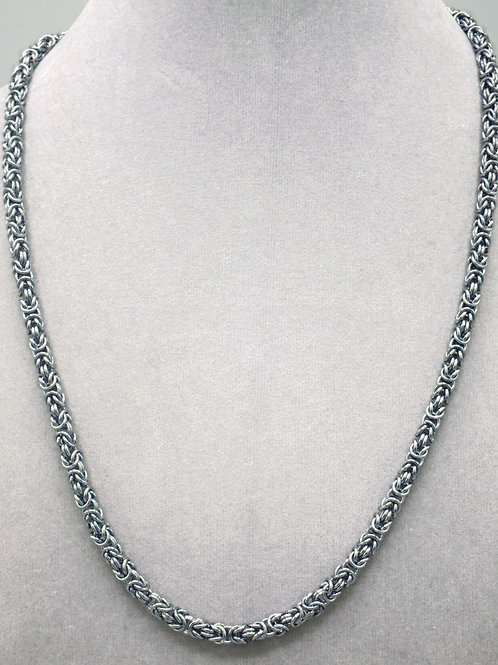"19.9"" Gunmetal Byzantine weave aluminum chainmail necklace"