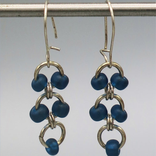 Sterling .925 silver chainmail earrings with turquoise Czech glass bead drops