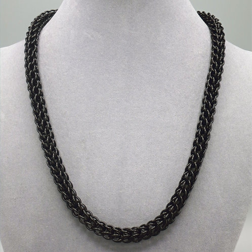"""19.7"""" Black Full Persian weave aluminum chainmail necklace"""