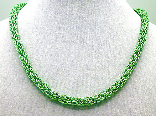 """17.7"""" Pale green Candy Cane weave anodized aluminum chainmail ne"""