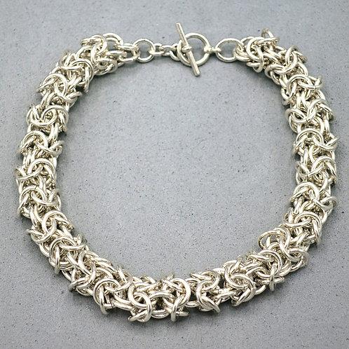 """Argentium silver 8.25"""" chainmail bracelet in Turkish Round weave"""