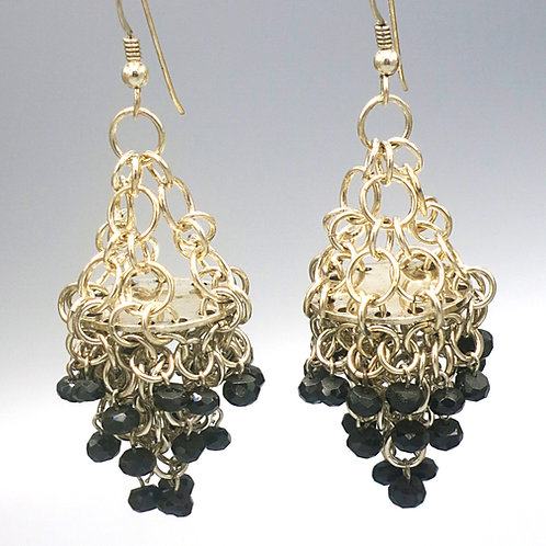 Sterling .925 chainmail statement chandelier earrings with faceted black spinel