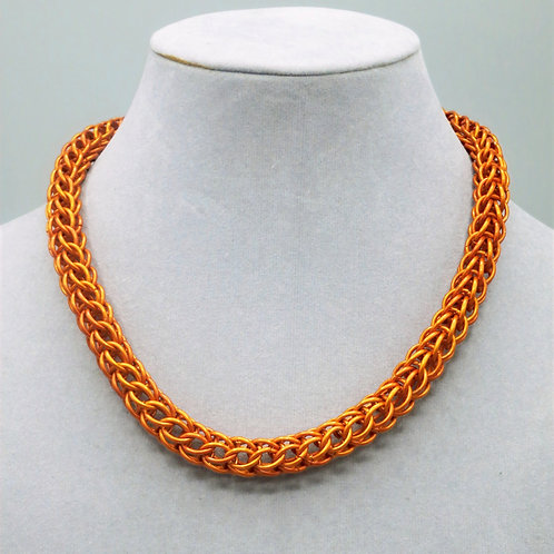 "17.7"" Orange Full Persian weave anodized aluminum chainmail necklace"