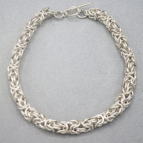 """Argentium silver  8.25"""" Byzantine chainmail bracelet"""
