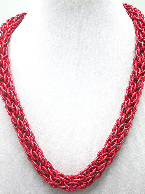 "21"" Red Candy Cane weave anodized aluminum chainmail necklace"