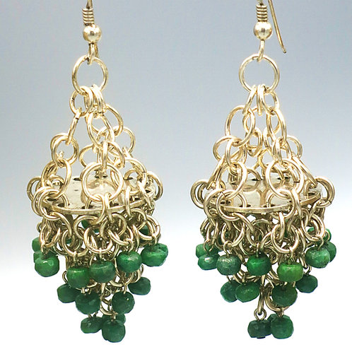 Sterling .925 chainmail statement chandelier earrings with faceted emeralds