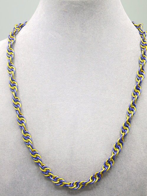 "21.3"""" Purple & gold Spiral weave aluminum chainmail neckl"