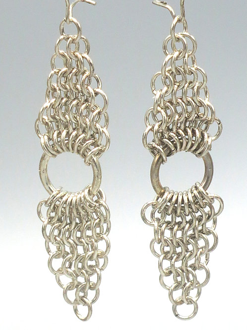 Sterling .925 chainmail earrings -- Euro 4-in-1 triangles with rings