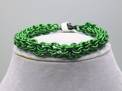 "8.2"" Green Inverted Round weave anodized aluminum chainmail bracelet"
