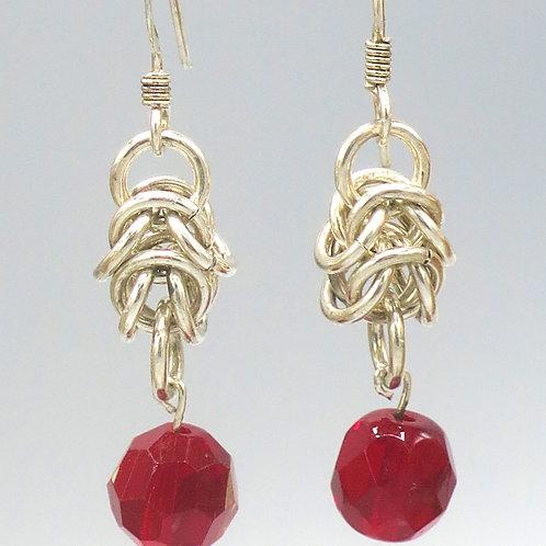 Argentium silver byzantine chainmail drop earrings with Preciosa crystal teardro