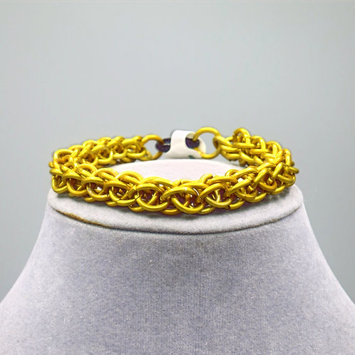 "7.2"" Yellow Forars Kaede weave anodized aluminum chainmail bracelet"