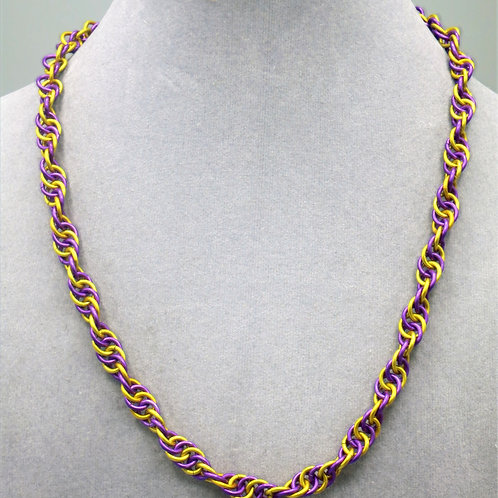 """17.7"""" Purple & gold Spiral weave aluminum chainmail neckl"""