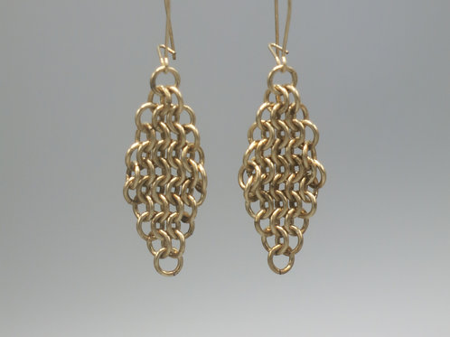 14k gold-filled chainmail earrings -- Euro 4-in-1 diamonds