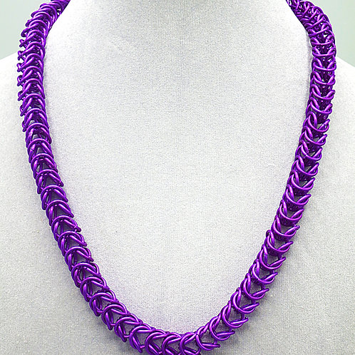 "20"" Box weave anodized aluminum chainmail necklace"