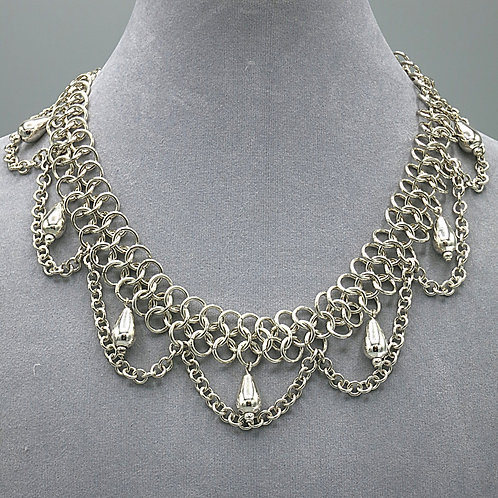 .925 sterling silver Euro 4-1 chainmail necklace w/chain drapes & teardrops