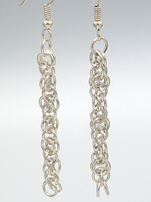 Argentium silver chainmail earrings in Harvest Moon weave