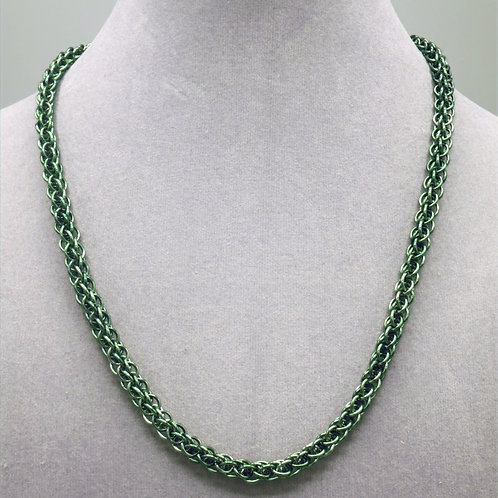 "18.5"" Moss green Forars Kaede weave anodized aluminum chainmail ne"