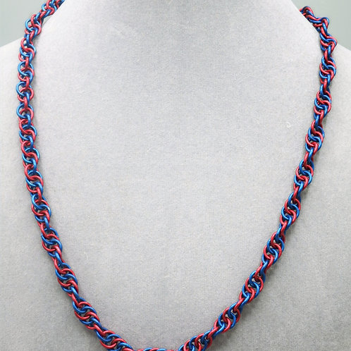 """21.3"""" Red & blue Spiral weave anodized aluminum chainmail necklace"""